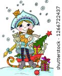 snow maiden with cats. holiday...   Shutterstock . vector #1266722437