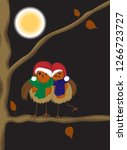 two love birds with santa hats... | Shutterstock . vector #1266723727