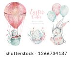 Stock photo hand drawn watercolor happy easter set with bunnies design rabbit bohemian style isolated boho 1266734137