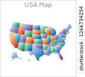 low poly map of usa. usa...   Shutterstock .eps vector #1266734254
