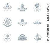 flower meadow logo set. simple... | Shutterstock . vector #1266743434