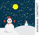 christmas snowman vector... | Shutterstock .eps vector #1266744277