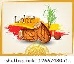 happy lohri design with...   Shutterstock .eps vector #1266748051