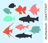 silhouette of colorful fish... | Shutterstock .eps vector #1266772507