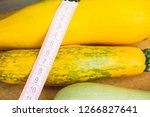 zucchini on a wooden table.... | Shutterstock . vector #1266827641