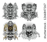 gothic sign with skull and sexy ... | Shutterstock .eps vector #1266847267
