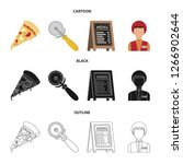a pizza cutter  a slice  a menu ... | Shutterstock . vector #1266902644