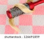 comb brush with hair on pink ... | Shutterstock . vector #126691859