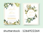 wedding floral golden... | Shutterstock .eps vector #1266922264