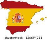 Map Of Spain With National Fla...