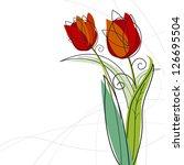 Tulip Flowers Design On White...
