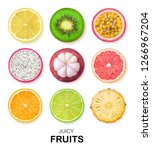 Isolated Fruits Slices. Pieces...
