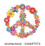 colorful peace flower symbol | Shutterstock .eps vector #126697271