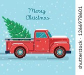 pickup truck with christmas tree | Shutterstock .eps vector #1266978601