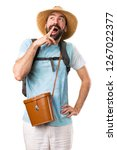 funny tourist making surprise... | Shutterstock . vector #1267022377