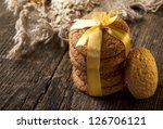 oatmeal cookies with sesame seeds, closeup - stock photo