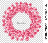 round frame made of pink rose... | Shutterstock .eps vector #1267066237