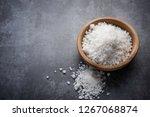 salt in wooden bowl on stone... | Shutterstock . vector #1267068874