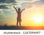 silhouette of little girl...   Shutterstock . vector #1267094497