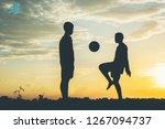 silhouette of children play...   Shutterstock . vector #1267094737