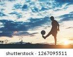 silhouette of children play...   Shutterstock . vector #1267095511