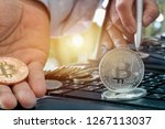 golden bitcoin medal on... | Shutterstock . vector #1267113037