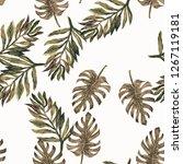 seamless watercolor tropical... | Shutterstock . vector #1267119181