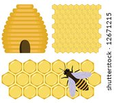 honey set   bee  beehive and... | Shutterstock .eps vector #12671215
