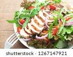 chicken breast salad  close up... | Shutterstock . vector #1267147921