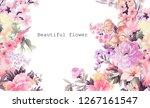 Stock photo elegant watercolor rose peony flower 1267161547