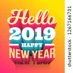 happy 2019 new year. vector... | Shutterstock .eps vector #1267166731