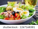 healthy hearty salad of tuna ... | Shutterstock . vector #1267168381