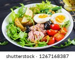 healthy hearty salad of tuna ... | Shutterstock . vector #1267168387