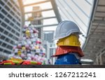 engineer caps stacked on the... | Shutterstock . vector #1267212241