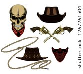 cowboy set of vector images.... | Shutterstock .eps vector #1267261504