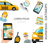 flat taxi service concept | Shutterstock .eps vector #1267266391