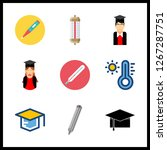 degree icon. thermometer and... | Shutterstock .eps vector #1267287751
