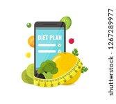 phone with app of diet plan ... | Shutterstock .eps vector #1267289977