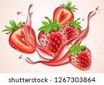 strawberry juice splash on... | Shutterstock .eps vector #1267303864
