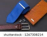 blue tie with metal pin and... | Shutterstock . vector #1267308214