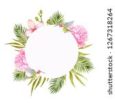 peony and orchid watercolor... | Shutterstock . vector #1267318264