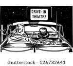 Couple At Drive-In Theatre - Retro Clipart Illustration