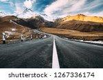 gergeti  georgia. open road to... | Shutterstock . vector #1267336174