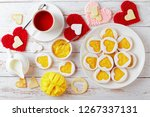 heart shaped linzer cookies... | Shutterstock . vector #1267337131