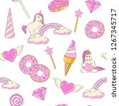 seamless pattern with cute... | Shutterstock . vector #1267345717