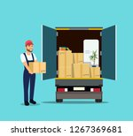 things in box in the trunk of... | Shutterstock .eps vector #1267369681