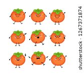 cute persimmon characters set ... | Shutterstock .eps vector #1267371874