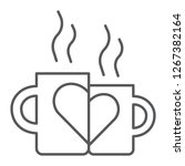 lovely mugs thin line icon ... | Shutterstock .eps vector #1267382164