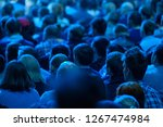 audience listens to the... | Shutterstock . vector #1267474984