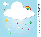 funny cloud. rain of gifts - stock vector